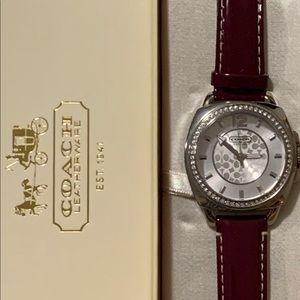 New Coach Deep Purple Patent Leather Watch